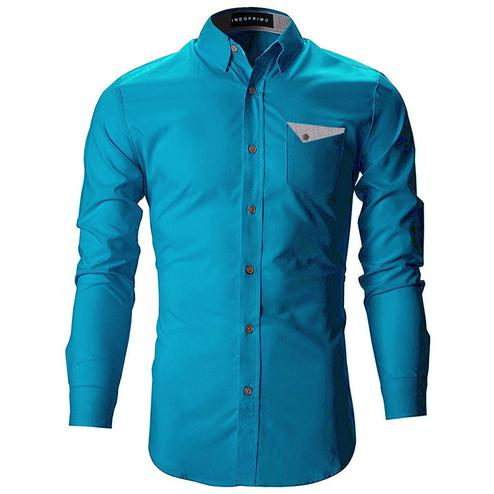 Pleasant Rama Blue Colored Casual Wear Pure Cotton Shirt