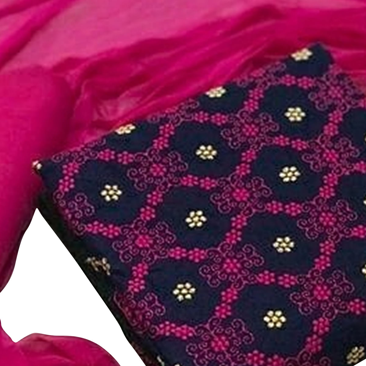 Adorable Navy Blue-Pink Colored Partywear Embroidered Cotton Dress Material