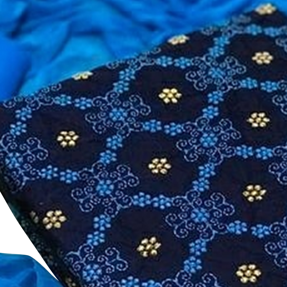 Glorious Navy Blue Colored Partywear Embroidered Cotton Dress Material