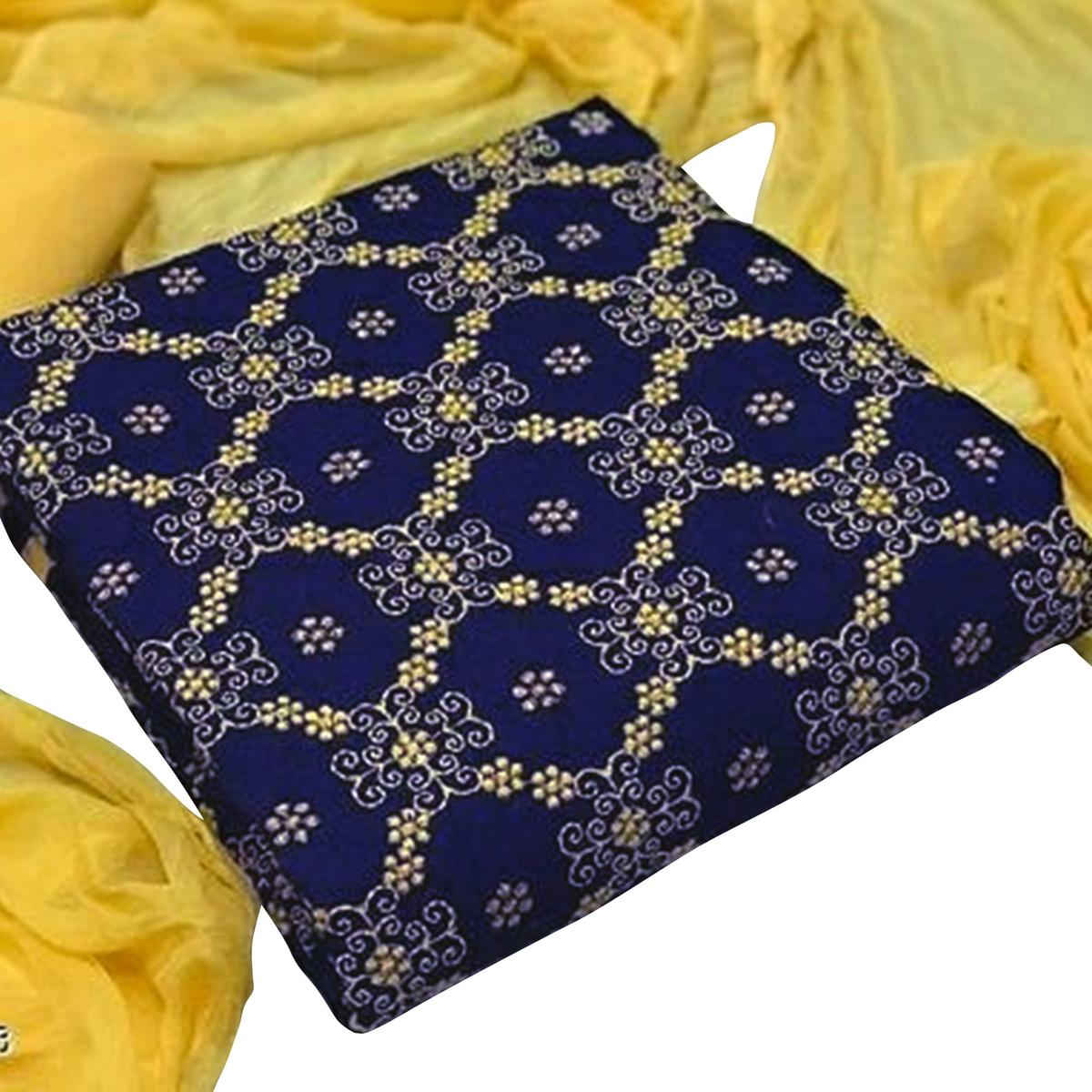 Attractive Navy Blue-Yellow Colored Partywear Embroidered Cotton Dress Material