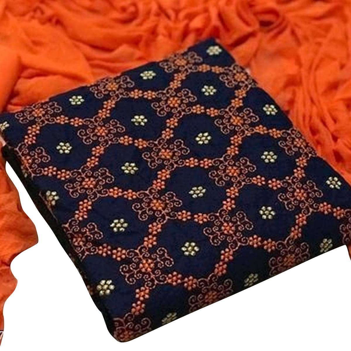 Beautiful Navy Blue-Orange Colored Partywear Embroidered Cotton Dress Material