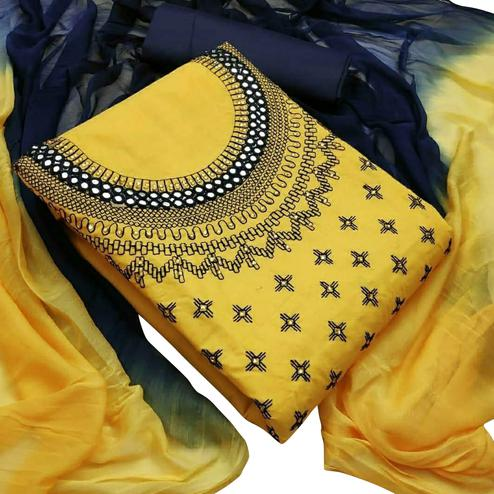Graceful Yellow Colored Partywear Embroidered Cotton Dress Material