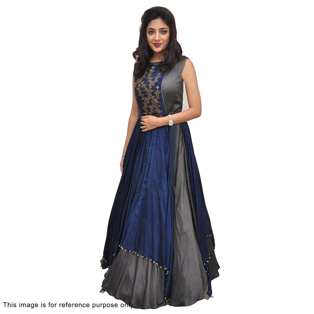 Navy Blue - Grey Cotton Silk Gown