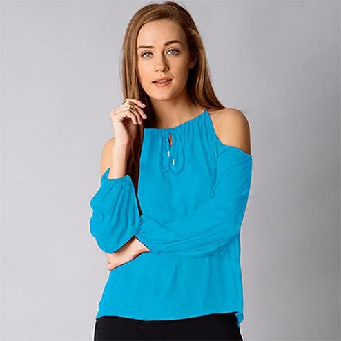 Stylish Blue Cold Shoulder Casual Wear Pure Georgette Top