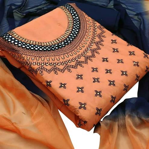 Charming Orange Colored Partywear Embroidered Cotton Dress Material