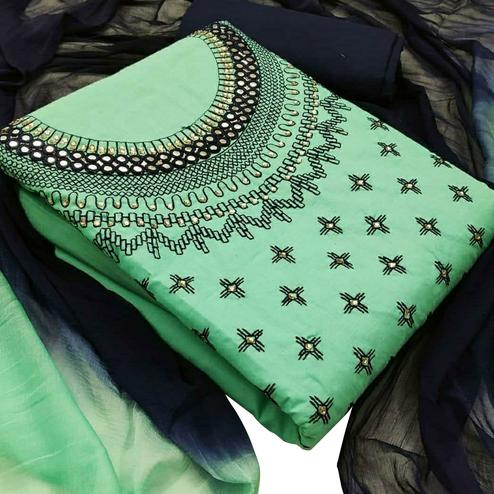 Jazzy Green Colored Partywear Embroidered Cotton Dress Material