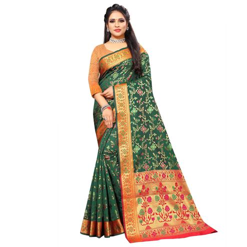Fantastic Dark Green Colored Festive Wear Woven Silk Saree