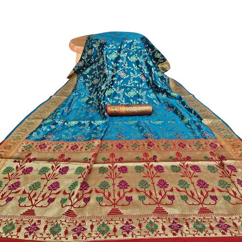 Amazing Teal Blue Colored Festive Wear Woven Silk Saree