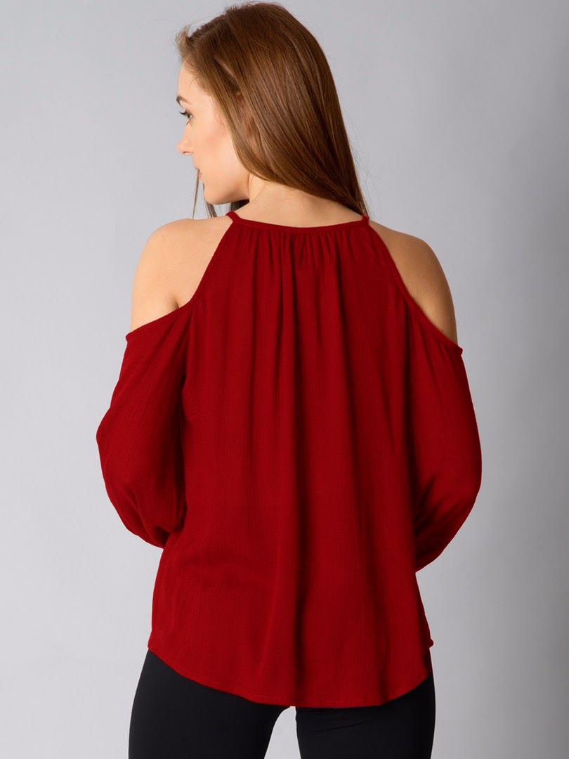 Adorable Maroon Cold Shoulder Casual Wear Pure Georgette Top