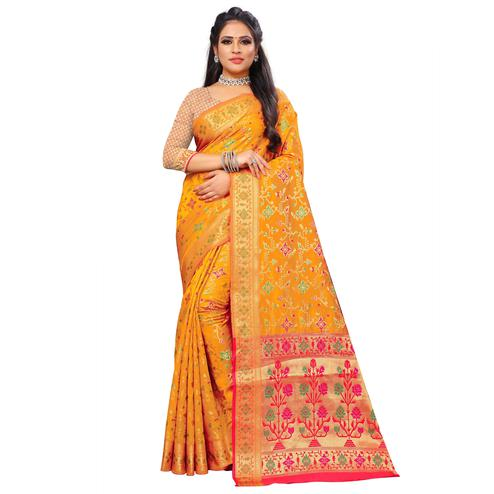 Gorgeous Yellow Colored Festive Wear Woven Silk Saree