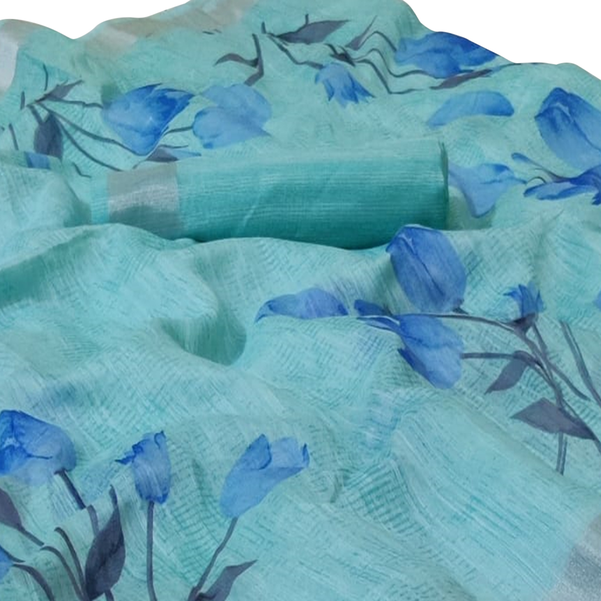 Ideal Blue Colored Casual Floral Printed Linen Saree