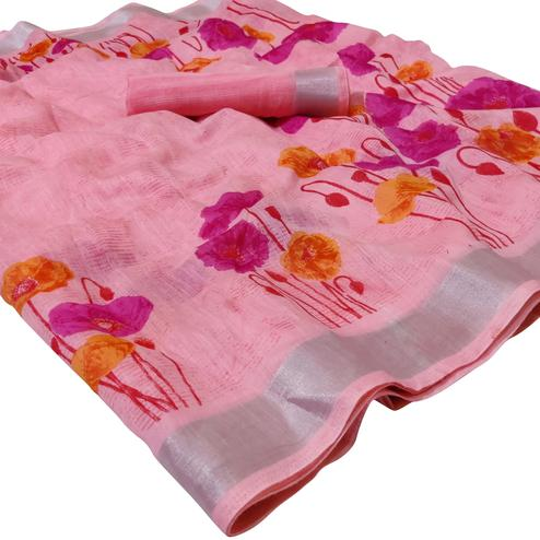 Imposing Light Pink Colored Casual Floral Printed Linen Saree