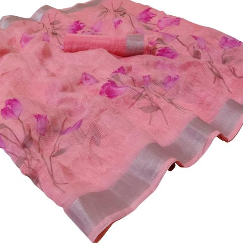 Lovely Light Pink Colored Casual Floral Printed Linen Saree