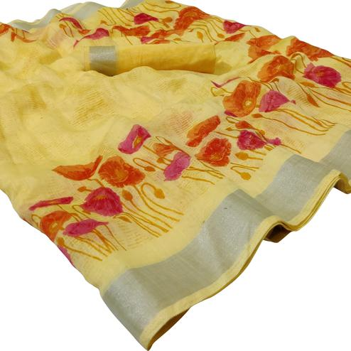 Majesty Yellow Colored Casual Floral Printed Linen Saree