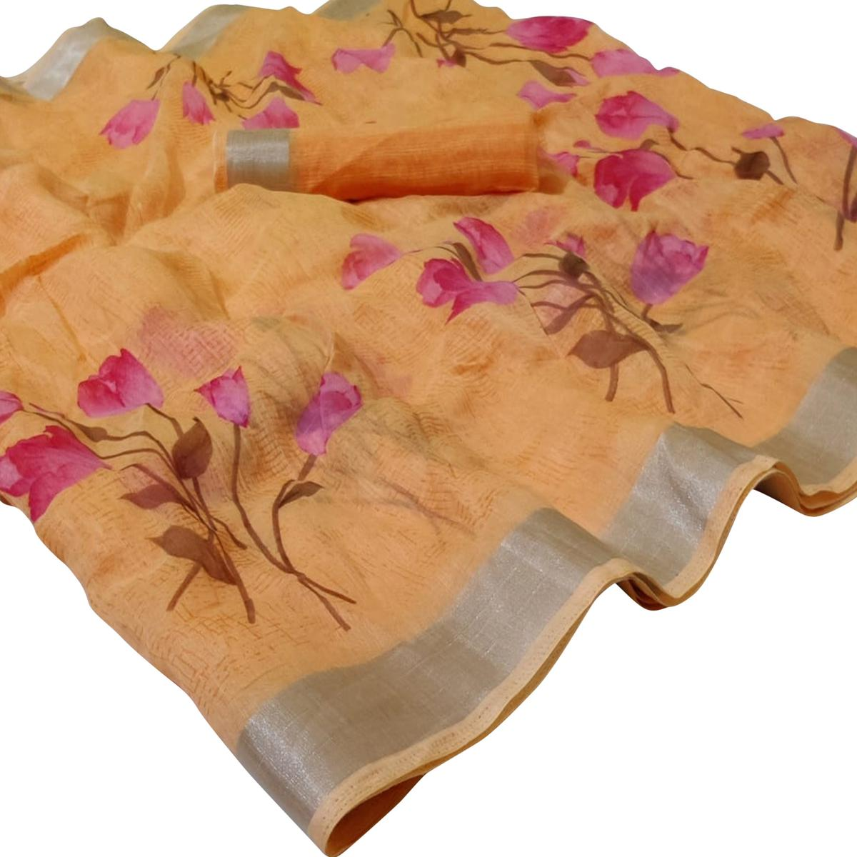 Impressive Light Orange Colored Casual Floral Printed Linen Saree
