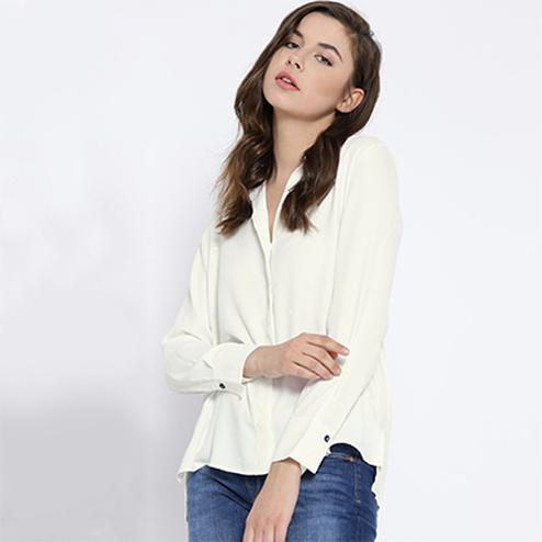 Solid White Casual Wear Pure Georgette Shirt