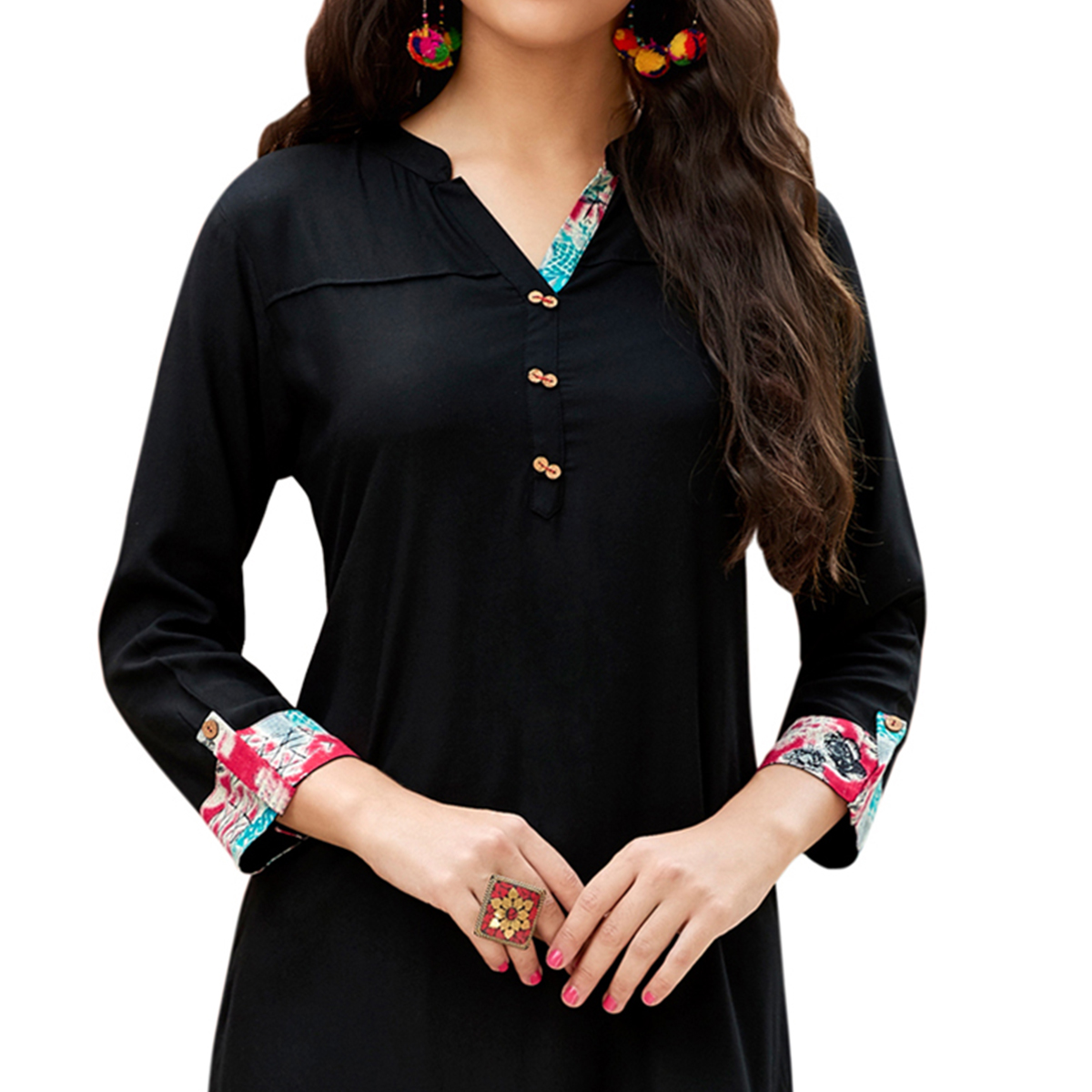 Black Cotton & Georgette Designer Kurti