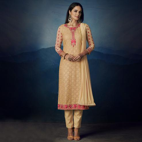 NAKKASHI - Mesmeric Gold Colored Party Wear Embroidered Faux Georgette Dress Material