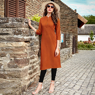 Brown Cotton Designer Kurti