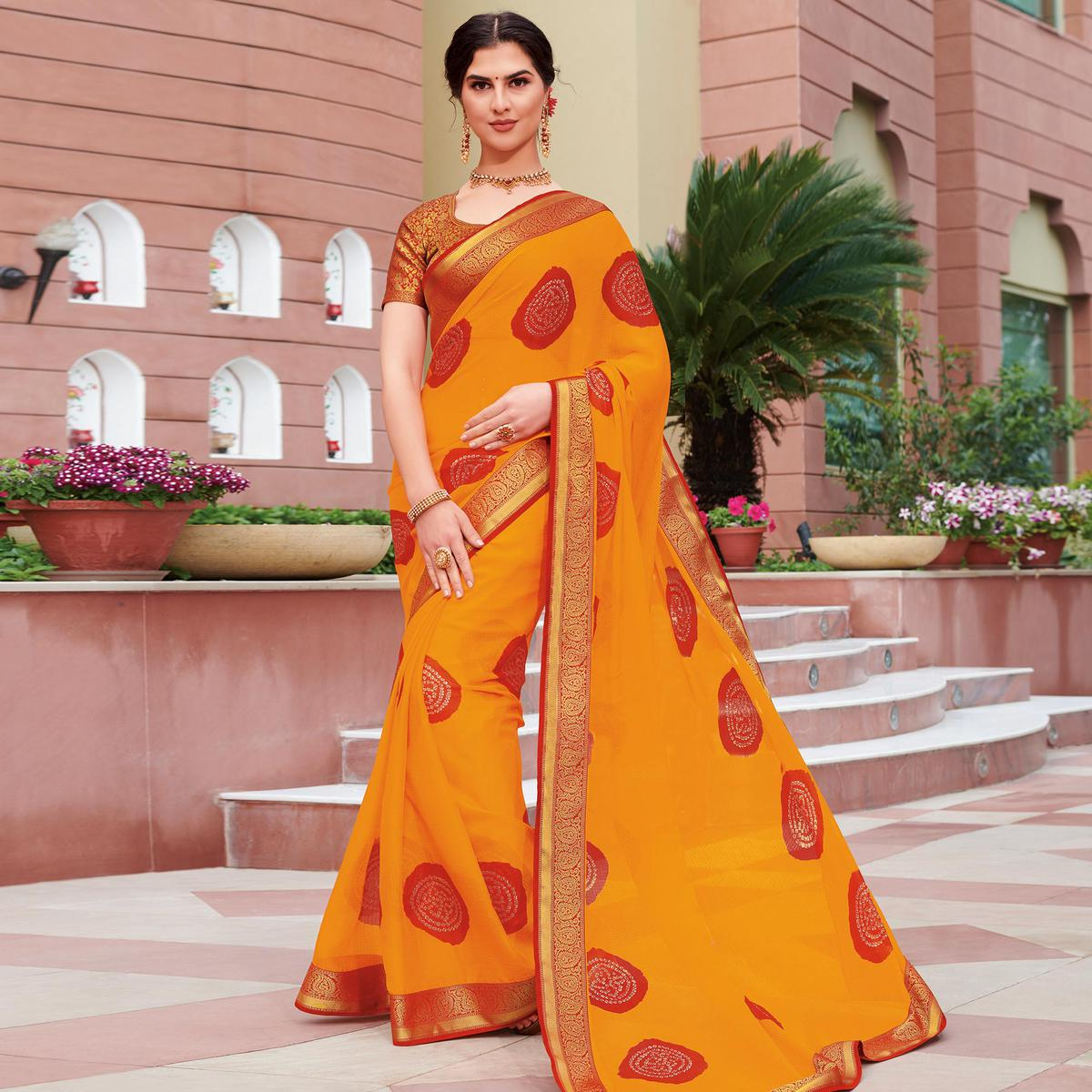 Trendy Red Colored Partywear Bandhani Embroidered Chiffon Saree