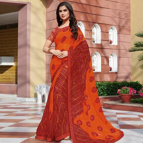 Radiant Orange-Red Colored Partywear Bandhani Embroidered Chiffon Saree