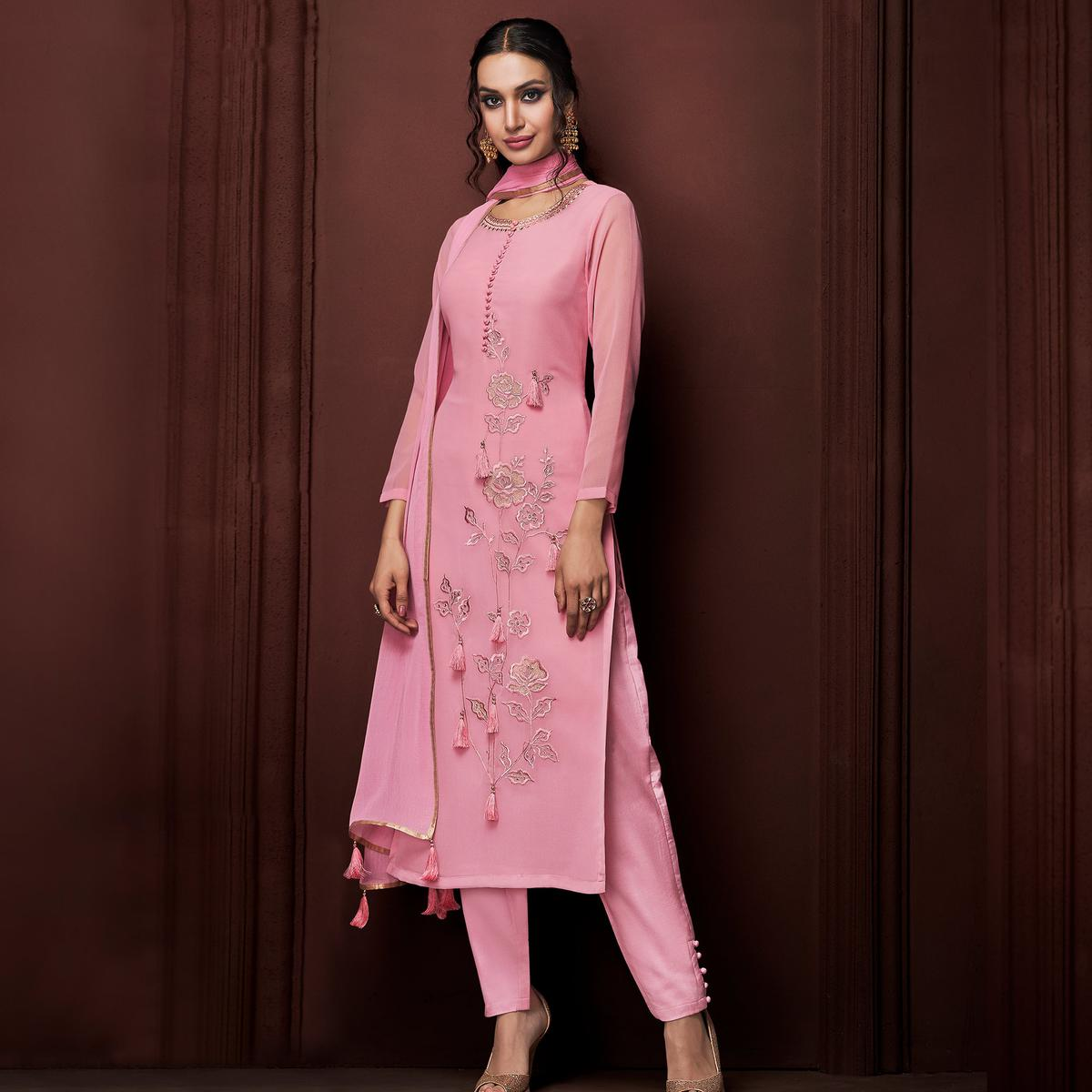 NAKKASHI - Appealing Pink Colored Party Wear Embroidered Faux Georgette Dress Material