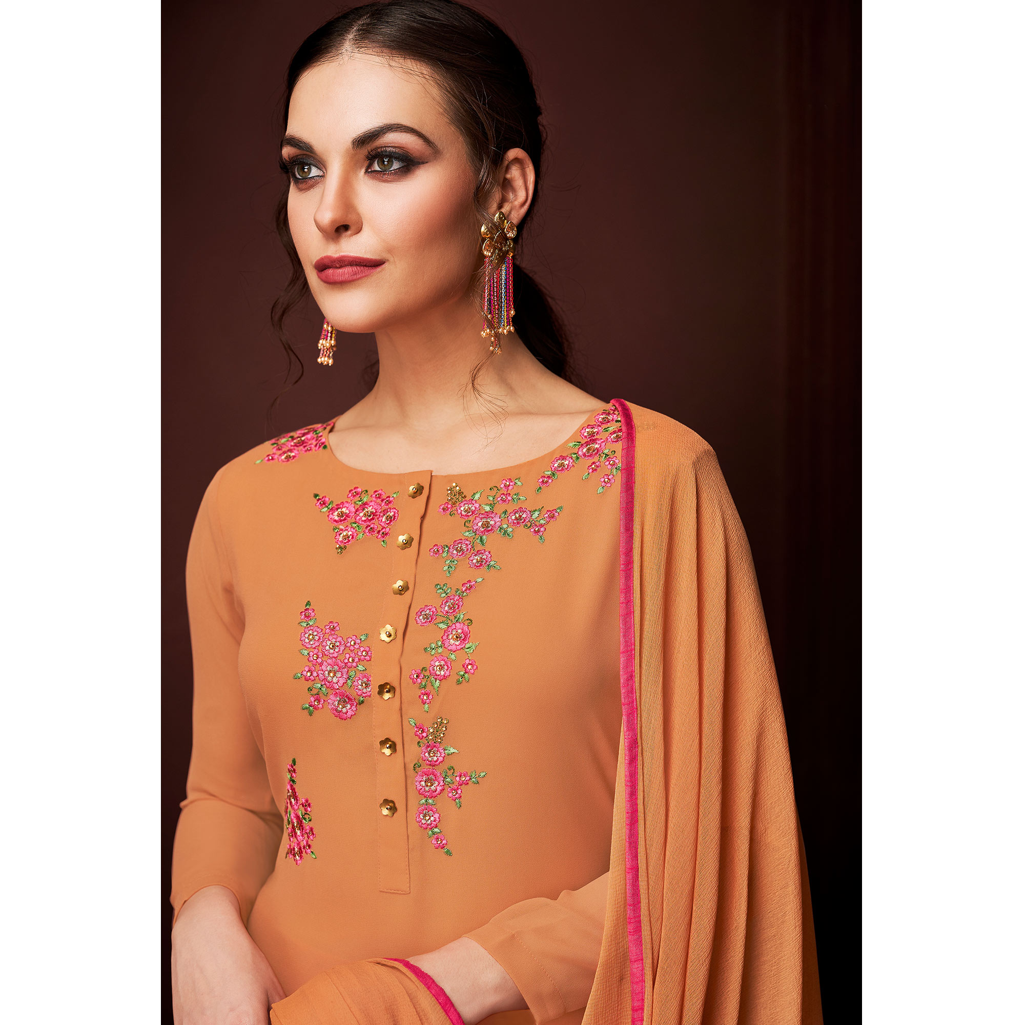 NAKKASHI - Jazzy Orange Colored Party Wear Embroidered Faux Georgette Dress Material