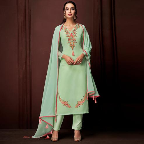 NAKKASHI - Amazing Green Colored Party Wear Embroidered Faux Georgette Dress Material