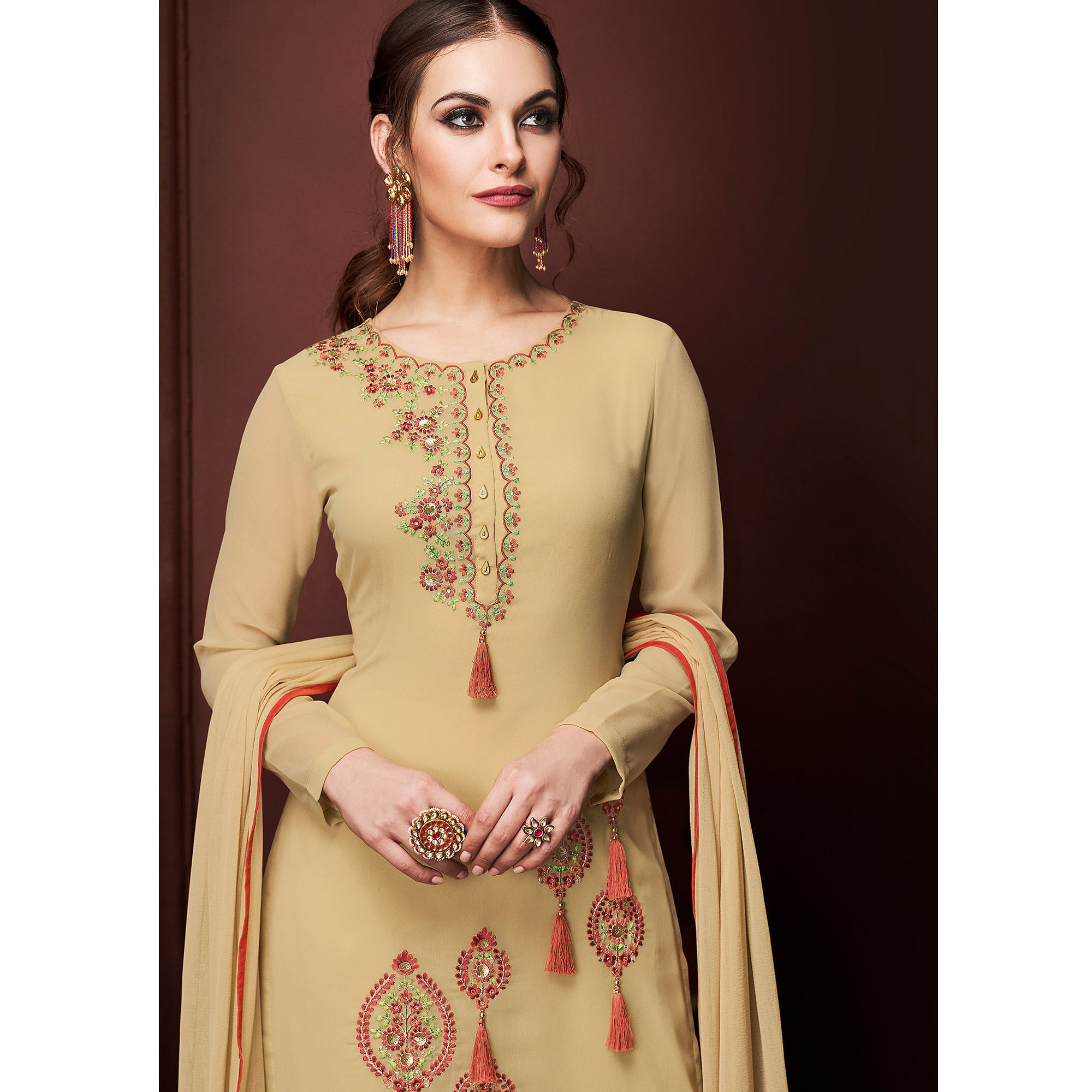 NAKKASHI - Blissful Beige Colored Party Wear Embroidered Faux Georgette Dress Material