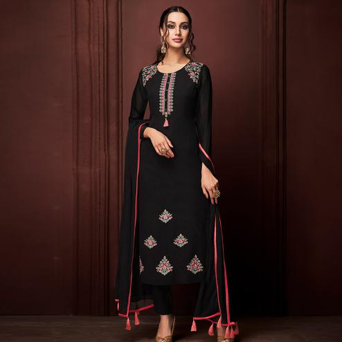 NAKKASHI - Impressive Black Colored Party Wear Embroidered Faux Georgette Dress Material