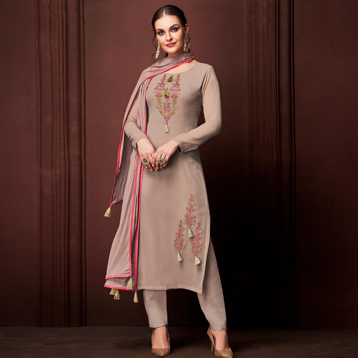 NAKKASHI - Flattering Beige Colored Party Wear Embroidered Faux Georgette Dress Material