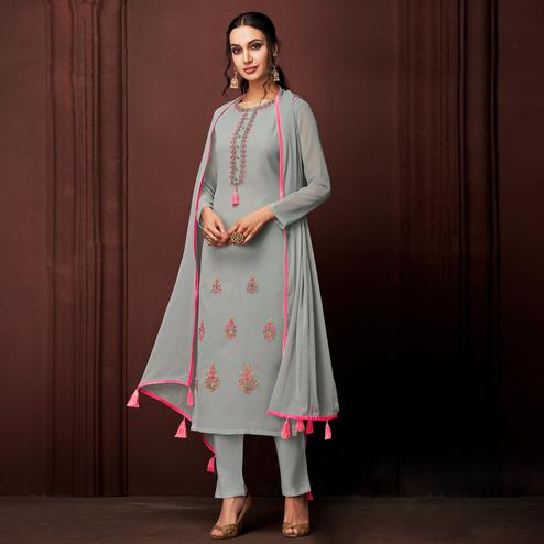 NAKKASHI - Pretty Grey Colored Party Wear Embroidered Faux Georgette Dress Material
