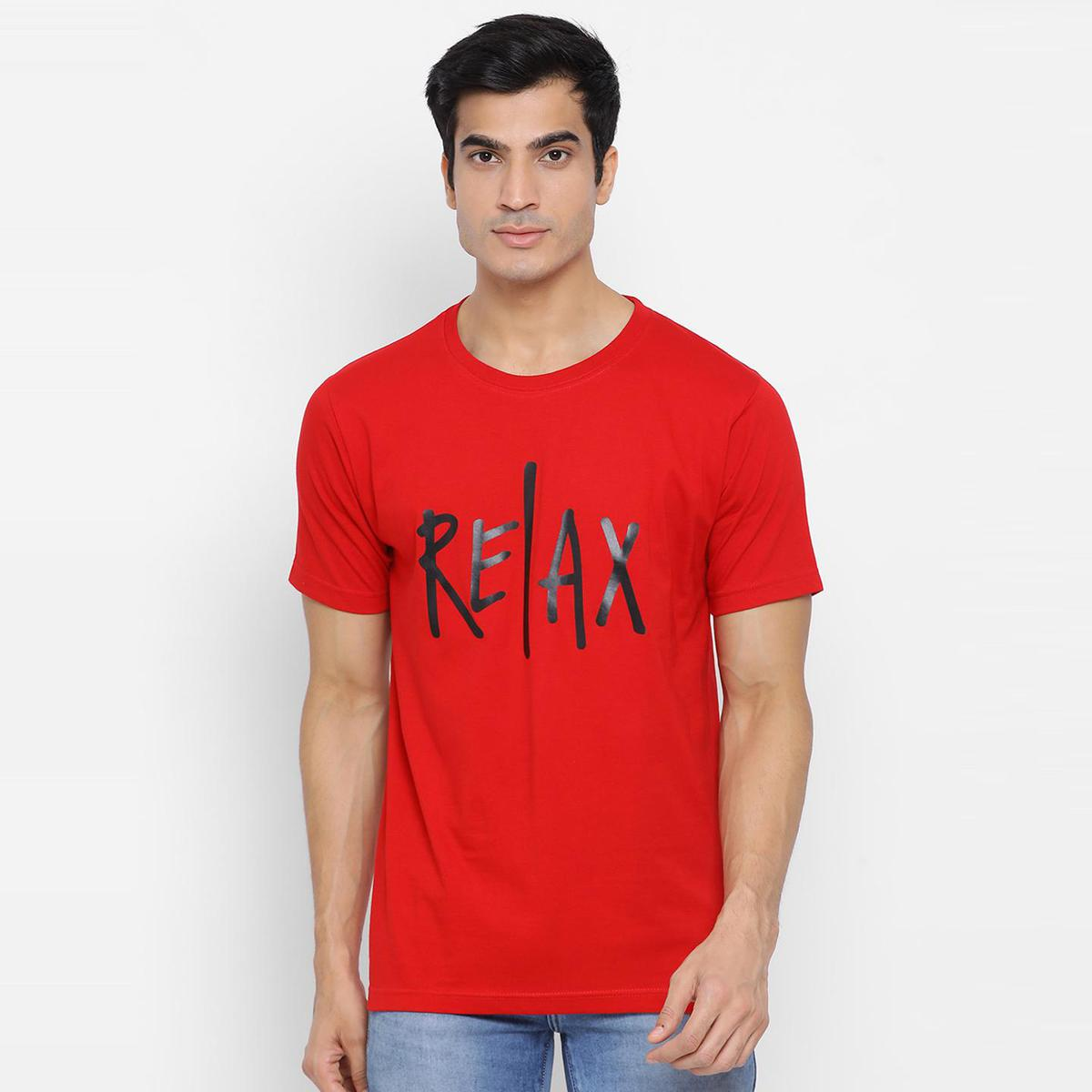 YOLOCLAN - Red Colored Men Relax Cotton T-shirt