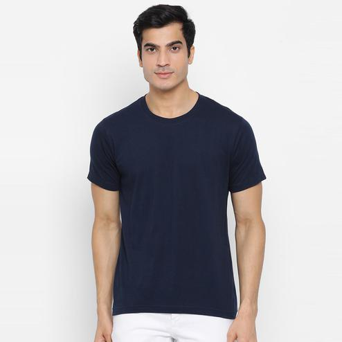 YOLOCLAN - Navy Blue Colored Men Plain Cotton T-shirt