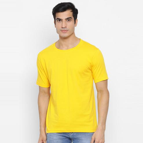 YOLOCLAN - Yellow Colored Men Plain Cotton T-shirt