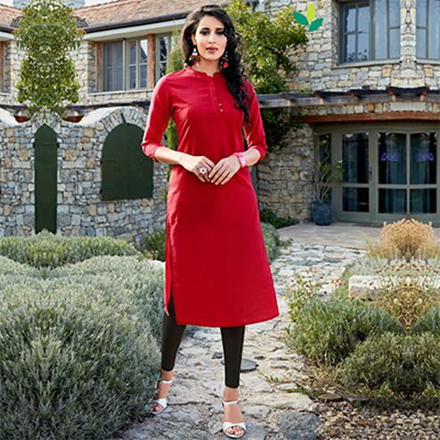 Red Cotton Designer Kurti