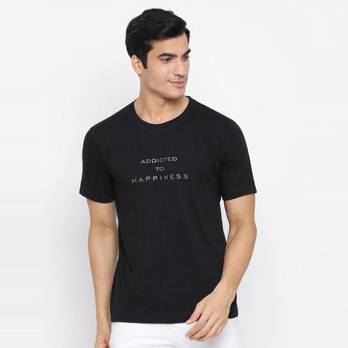 YOLOCLAN - Black Colored Men Addicted To Happiness Cotton T-shirt