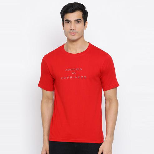YOLOCLAN - Red Colored Men Addicted To Happiness Cotton T-shirt