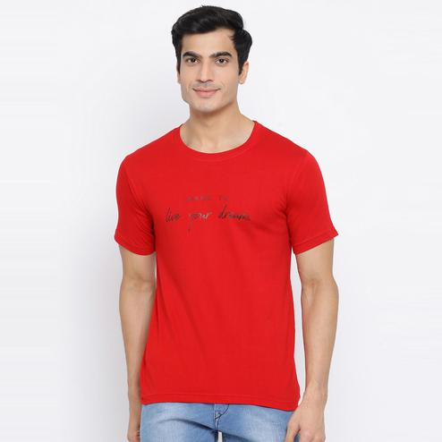 YOLOCLAN - Red Colored Men Dare To Live Your Dreams Cotton T-shirt