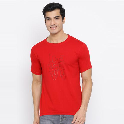 YOLOCLAN - Red Colored Men Love What You Do Cotton T-shirt