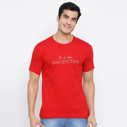 YOLOCLAN - Red Colored Men Perspective Cotton T-shirt