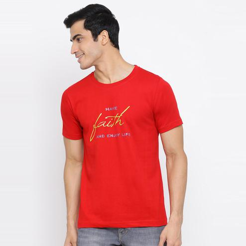 YOLOCLAN - Red Colored Men Have Faith Cotton T-shirt
