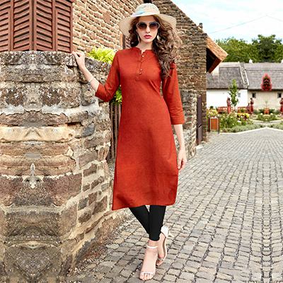 Dark Orange Cotton Designer Kurti