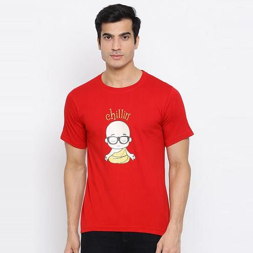 YOLOCLAN - Red Colored Men Chillin Cotton T-shirt