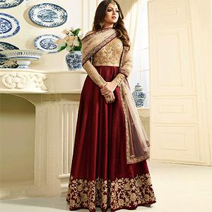 Stunning Maroon Designer Embroidered Banglori Silk Anarkali Suit