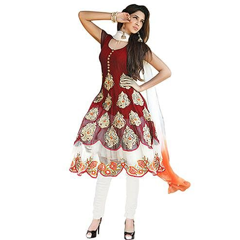 Beautiful Maroon Embroidered Georgette Anarkali Suit