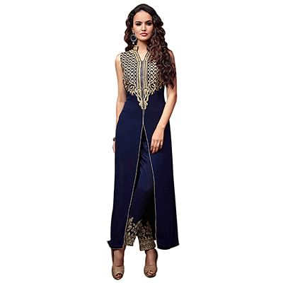 Stylish Blue Designer Embroidered Georgette Straight Suit