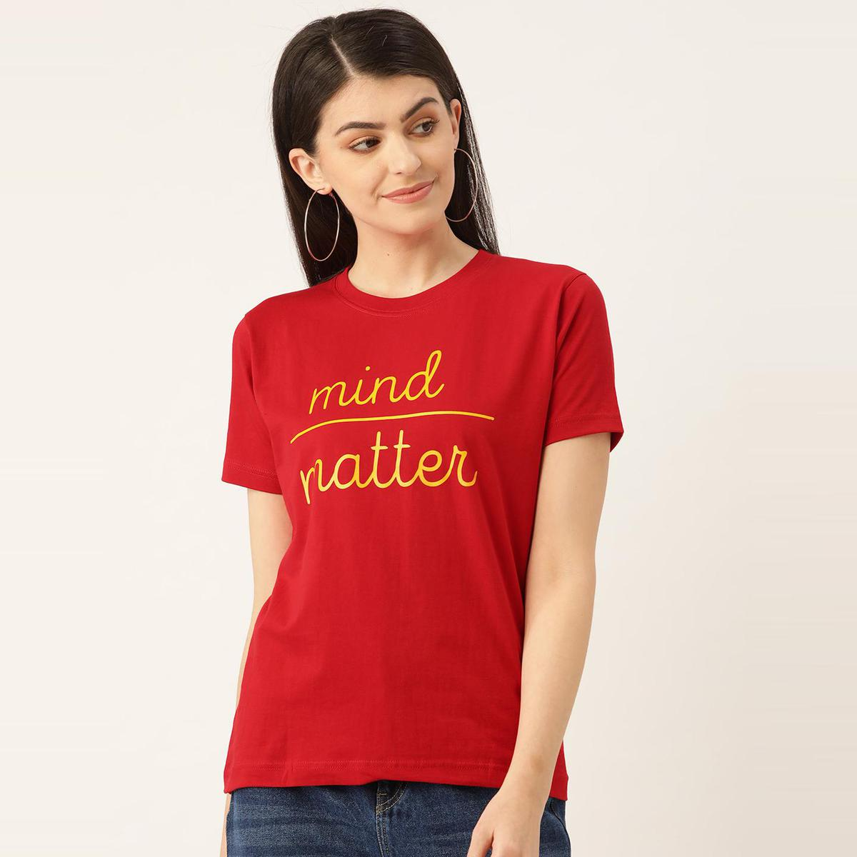 YOLOCLAN - Red Colored Women Mind Over Matter Cotton T-Shirt