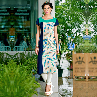 Multi Cotton Crape Printed Designer Kurti