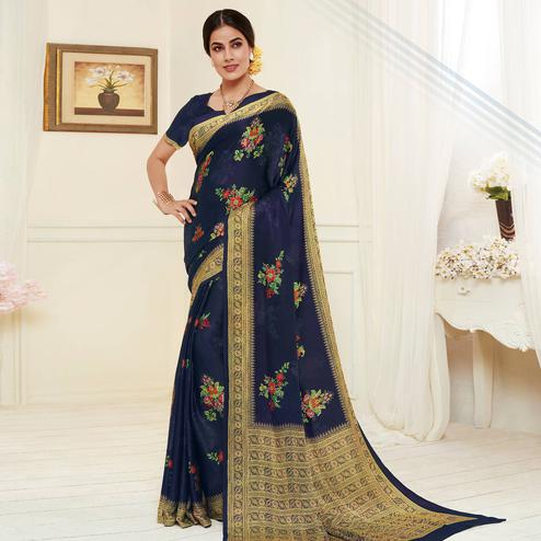 Attractive Navy Blue Colored Casual Wear Printed Georgette Saree